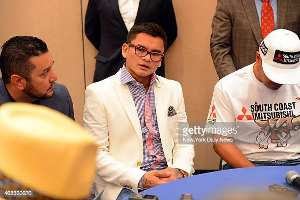 """Marcos """"El Chino"""" Maidana answers questions from the media before he and Floyd """"Money"""" Mayweather hosted a Times Square press conference in New York..."""