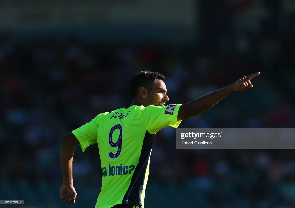 Marcos Flores of the Victory celebrates after he scored during the round 16 A-League match between the Melbourne Victory and the Central Coast Mariners at Aurora Stadium on January 12, 2013 in Launceston, Australia.