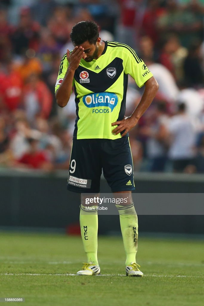 Marcos Flores of the Victory looks dejected after their loss during the round 14 A-League match between the Western Sydney Wanderers and the Melbourne Victory at Parramatta Stadium on January 1, 2013 in Sydney, Australia.