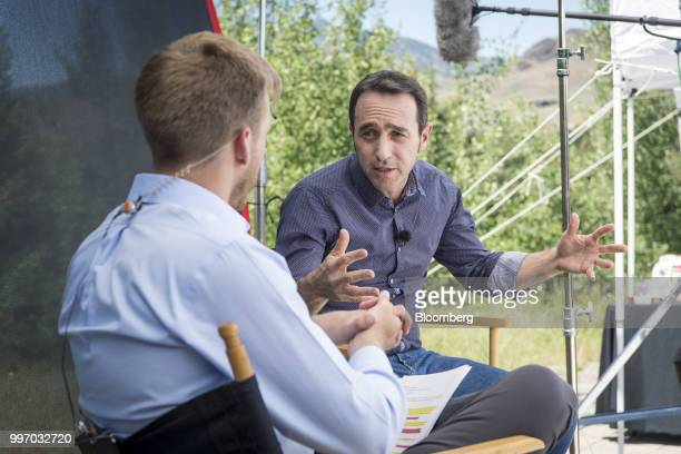 Marcos Galperin cofounder and chief executive officer of MercadoLibre Inc speaks during a Bloomberg Television interview at the Allen Co Media and...