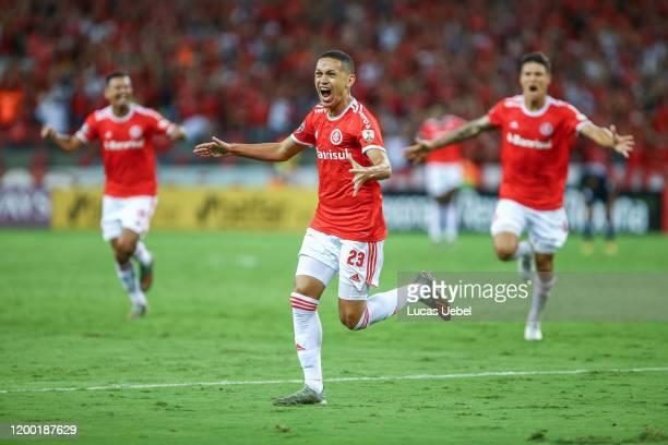 Marcos Guilherme of Internacional celebrates after scoring the second goal of his team during the match between Internacional and Universidad de...