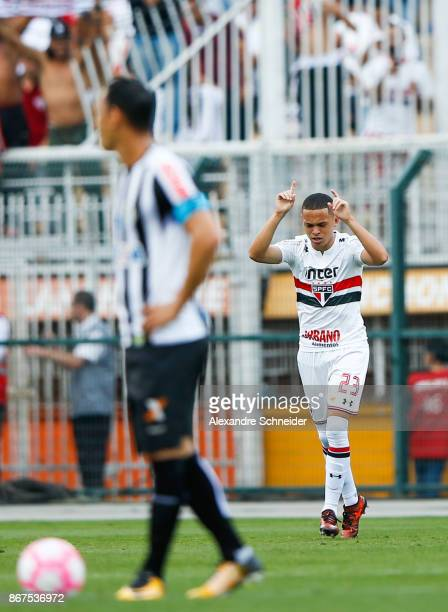 Marcos Guilherme of Sao Paulo celebrates their first goal during the match between Sao Paulo and Santos for the Brasileirao Series A 2017 at Pacaembu...