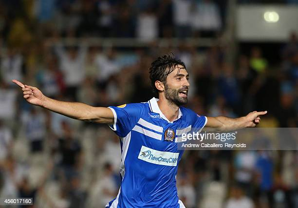Marcos Gullon from Apollon Limassol FC celebrates in the UEFA Europa League match between Apollon Limassol FC ad FC Zurich on September 18 2014 in...
