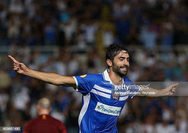Marcos Gullon from Apollon Limassol FC celebrates scoring a goal against FC Zurich in their UEFA Europa League match on September 18 2014 in Limassol...