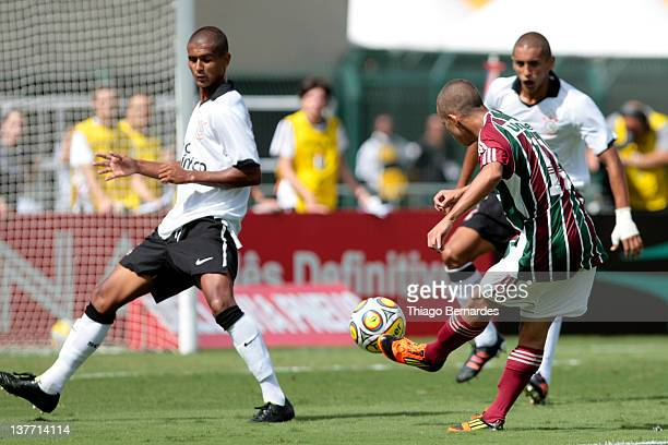 Marcos Junior of Fluminense shoots during the final match of the Copa de Juniores 2012 at the Pacaembu stadium on January 25 2012 in Sao Paulo Brazil