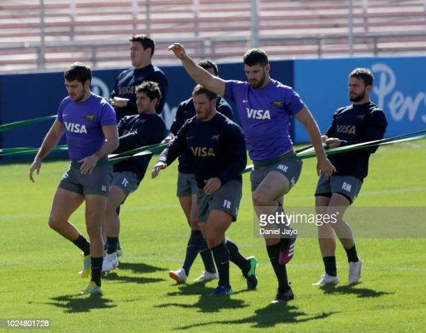 Marcos Kremer of Argentina and teammates train during Argentina Captain's Run before the The Rugby Championship 2018 match against South Africa at...