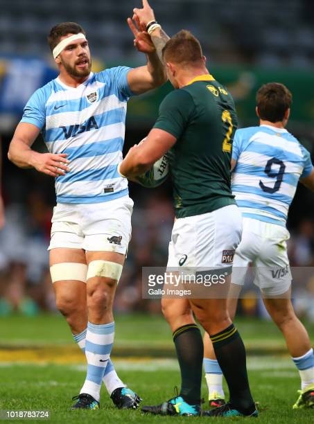 Marcos Kremer of Argentina has words with Malcolm Marx of South Africa during the Rugby Championship match between South Africa and Argentina at...