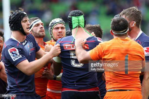 Marcos Kremer of the Jaguares and Adam Coleman of the Rebels exchange heated words during the round nine Super Rugby match between the Rebels and the...