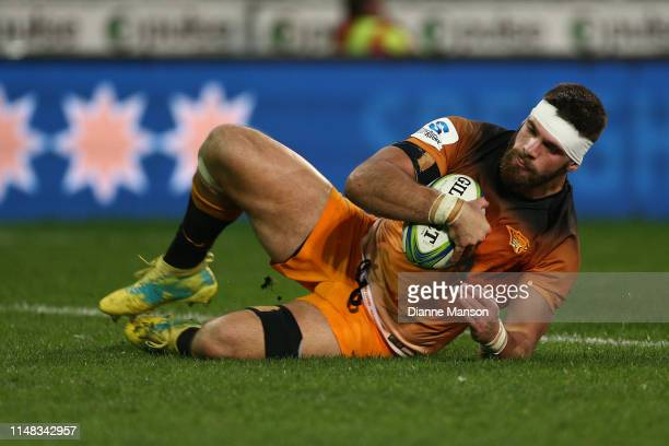 Marcos Kremer of the Jaguares scores a try during the round 13 Super Rugby match between the Highlanders and the Jaguares at Forsyth Barr Stadium on...
