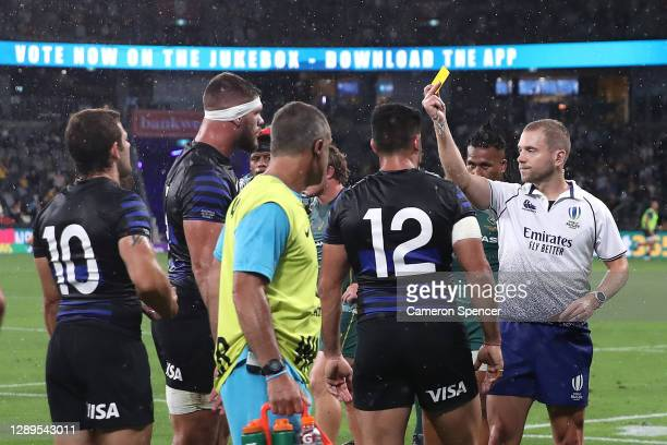 Marcos Kremer of the Pumas is given a yellow card during the 2020 Tri-Nations match between the Australian Wallabies and the Argentina Pumas at...