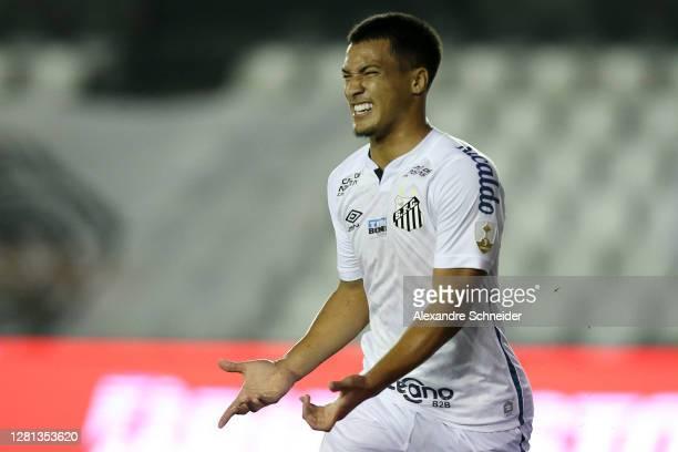 Marcos Leonardo of Santos celebrates after scoring the second goal of his team during a Group G match of Copa CONMEBOL Libertadores 2020 between...