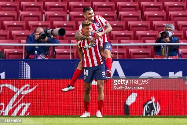 Marcos Llorente of Atletico de Madrid celebrates after scoring his team's fourth goal during the La Liga Santander match between Atletico de Madrid...