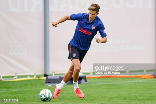 Marcos Llorente of Atletico de Madrid in action during a training session at Estadio Cerro del Espino on May 12 2020 in Madrid Spain