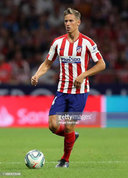 Marcos Llorente of Atletico de Madrid in action during the Liga match between Club Atletico de Madrid and Getafe CF at Wanda Metropolitano on August...