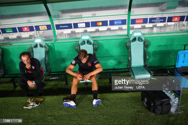 Marcos Llorente of Atletico de Madrid looks dejected following his team's defeat in the UEFA Champions League Quarter Final match between RB Leipzig...