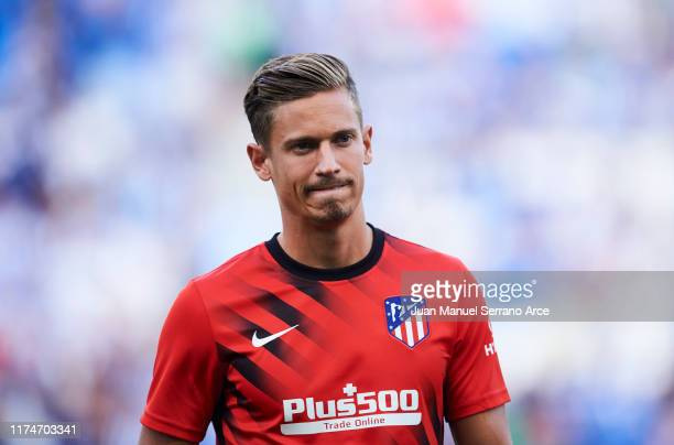 Marcos Llorente of Atletico de Madrid looks on prior to the warm up during the Liga match between Real Sociedad and Club Atletico de Madrid at...