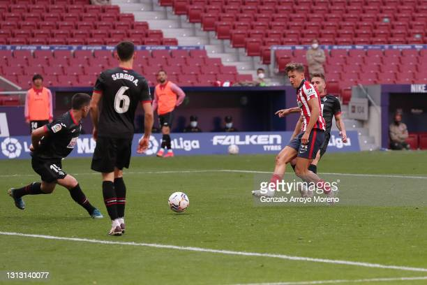 Marcos Llorente of Atletico de Madrid scores their fourth goal during the La Liga Santander match between Atletico de Madrid and SD Eibar at Estadio...