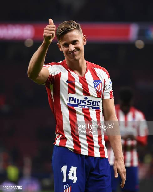 Marcos Llorente of Atletico Madrid acknowledges the fans following the Liga match between Club Atletico de Madrid and Granada CF at Wanda...