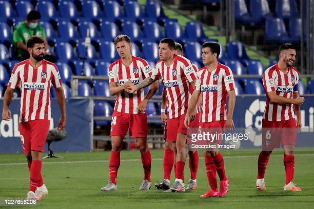 Marcos Llorente of Atletico Madrid celebrates 01 with Diego Costa of Atletico Madrid Jose Gimenez of Atletico Madrid Manu Sanchez of Atletico Madrid...