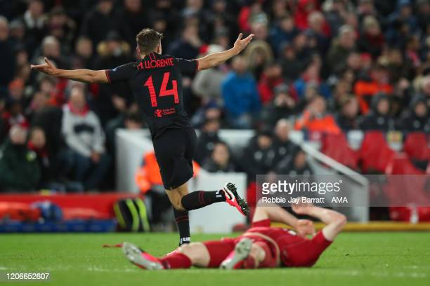 Marcos Llorente of Atletico Madrid celebrates after scoring a goal to make it 2-2 during the UEFA Champions League round of 16 second leg match...