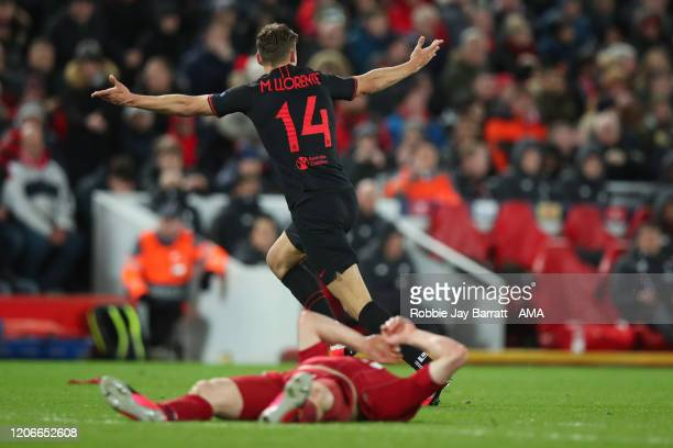 Marcos Llorente of Atletico Madrid celebrates after scoring a goal to make it 22 during the UEFA Champions League round of 16 second leg match...