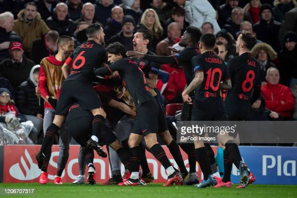 Marcos Llorente of Atletico Madrid celebrates after scoring his team's first goal during the UEFA Champions League round of 16 second leg match...