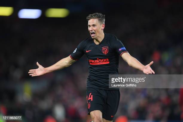 Marcos Llorente of Atletico Madrid celebrates after scoring his team's second goal during the UEFA Champions League round of 16 second leg match...