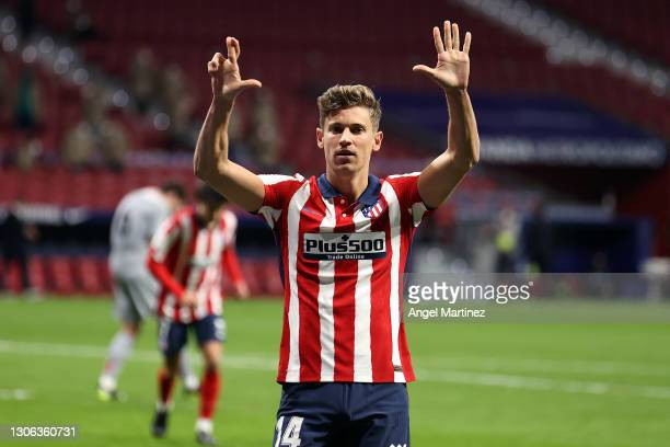 Marcos Llorente of Atletico Madrid celebrates after scoring their team's first goal during the La Liga Santander match between Atletico de Madrid and...