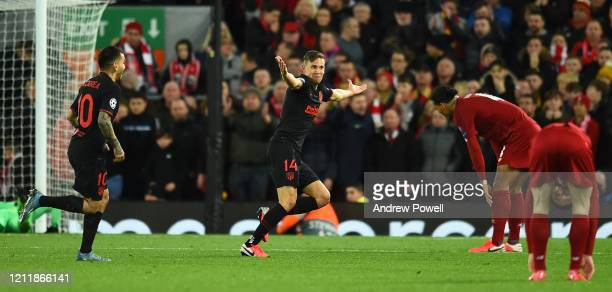 Marcos Llorente of Atletico Madrid celebrates his goal during the UEFA Champions League round of 16 second leg match between Liverpool FC and...