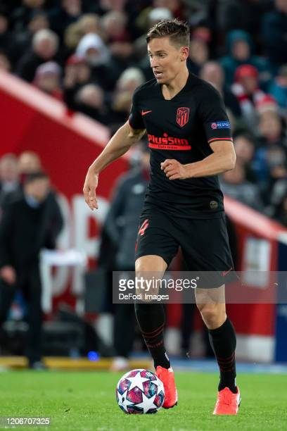 Marcos Llorente of Atletico Madrid controls the ball during the UEFA Champions League round of 16 second leg match between Liverpool FC and Atletico...
