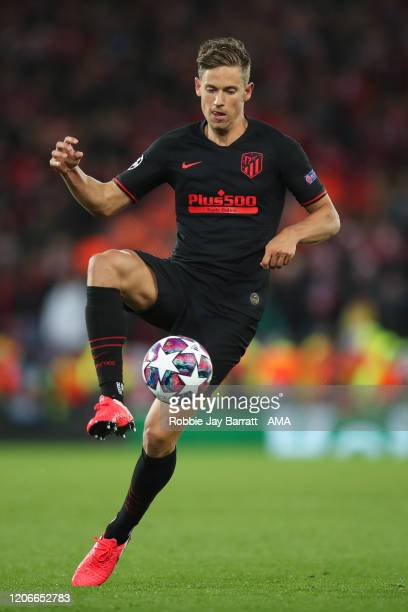 Marcos Llorente of Atletico Madrid during extra time during the UEFA Champions League round of 16 second leg match between Liverpool FC and Atletico...