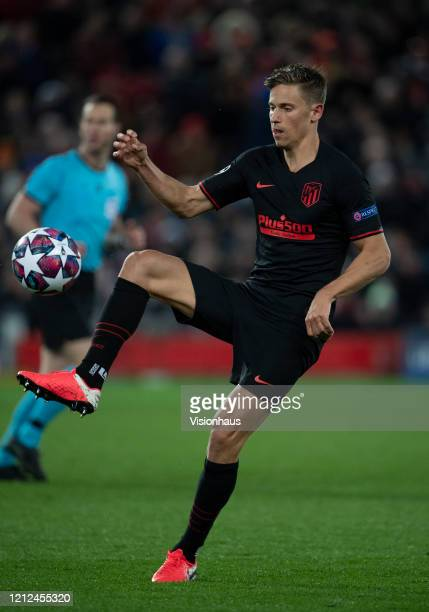 Marcos Llorente of Atletico Madrid during the UEFA Champions League round of 16 second leg match between Liverpool FC and Atletico Madrid at Anfield...