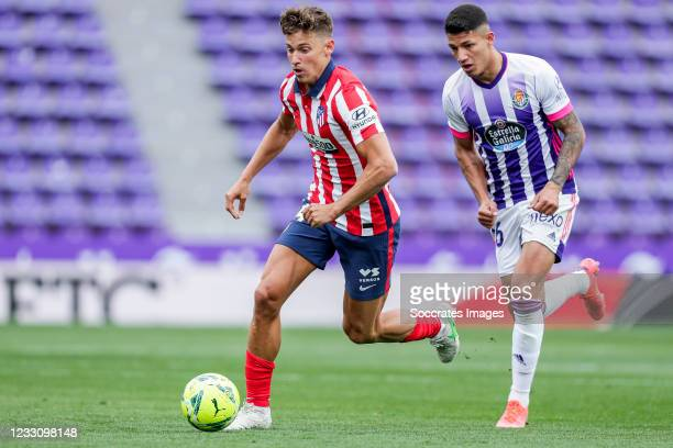 Marcos Llorente of Atletico Madrid, Marcos Andre of Real Valladolid during the La Liga Santander match between Real Valladolid v Atletico Madrid at...