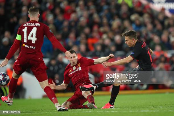 Marcos Llorente of Atletico Madrid scores a goal to make it 22 during the UEFA Champions League round of 16 second leg match between Liverpool FC and...