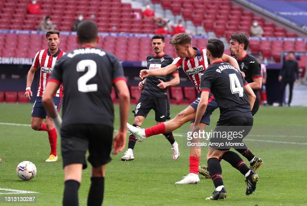 Marcos Llorente of Atletico Madrid scores their team's fifth goal during the La Liga Santander match between Atletico de Madrid and SD Eibar at...