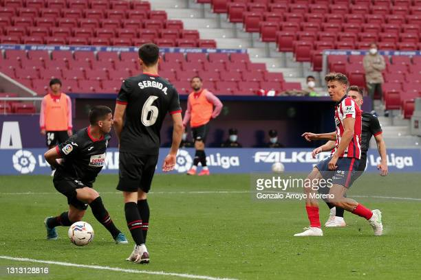 Marcos Llorente of Atletico Madrid scores their team's fourth goal during the La Liga Santander match between Atletico de Madrid and SD Eibar at...