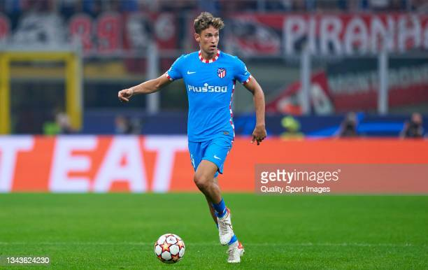 Marcos Llorente of Club Atletico de Madrid runs with the ball during the UEFA Champions League group B match between AC Milan and Atletico Madrid at...