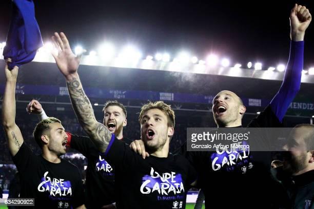 Marcos Llorente of Deportivo Alaves celebrates their victory with teammates goalkeeper Adrian Ortola , Kiko Femenia and Gaizka Toquero after the Copa...