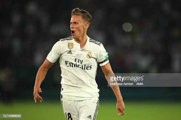 Marcos Llorente of Real Madrid celebrates scoring a goal to make it 20 during the FIFA Club World Cup UAE final match between Real Madrid and Al Ain...