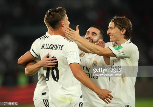 Marcos Llorente of Real Madrid celebrates scoring a goal to make it 20 with Luka Modric and his teammates during the FIFA Club World Cup UAE final...
