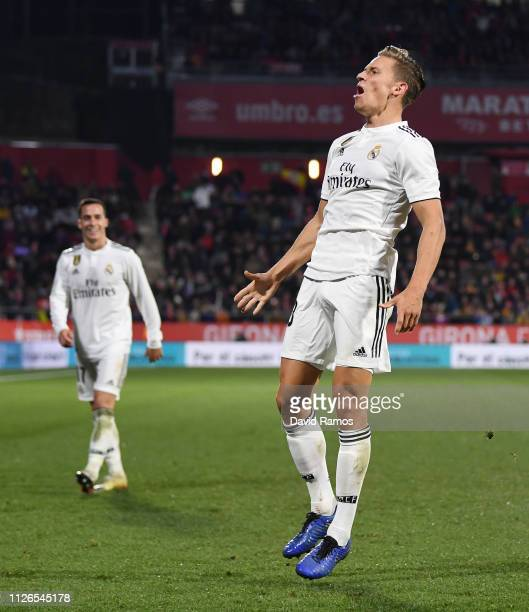 Marcos Llorente of Real Madrid celebrates scoring to make it 31 during the Copa del Quarter Final match between Girona and Real Madrid at Montilivi...