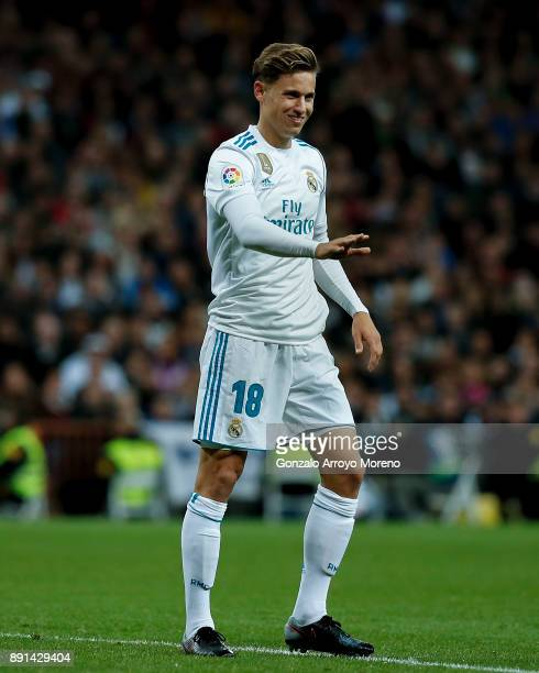 Marcos Llorente of Real Madrid CF gestures during the La Liga match between Real Madrid CF and Sevilla FC at Estadio Santiago Bernabeu on December 9...