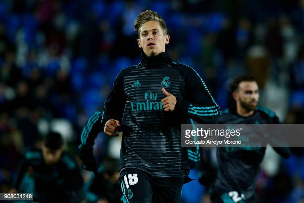 Marcos Llorente of Real Madrid CF in action during his warmingup session before the Copa del Rey quarter final first leg match between Real Madrid CF...