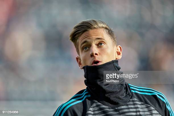 Marcos Llorente of Real Madrid CF looks on prior to the La Liga game between Valencia CF and Real Madrid CF at Mestalla on January 27 2018 in...