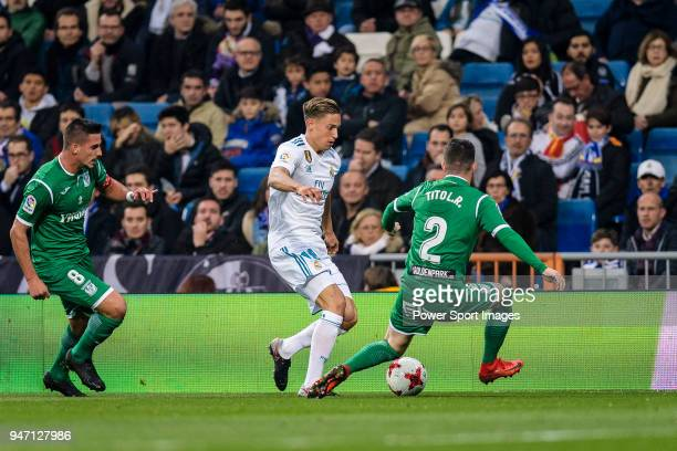 Marcos Llorente of Real Madrid in action against Roberto Triguero of CD Leganes during La Copa del Rey 201718 match between Real Madrid vs CD Leganes...