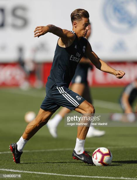 Marcos Llorente of Real Madrid in action during a training session at Valdebebas training ground on October 5 2018 in Madrid Spain