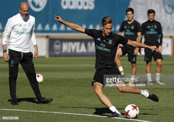 Marcos Llorente of Real Madrid in action during a training session at Valdebebas training ground on October 25 2017 in Madrid Spain