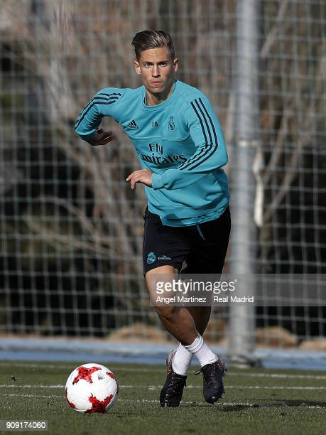 Marcos Llorente of Real Madrid in action during a training session at Valdebebas training ground on January 23 2018 in Madrid Spain