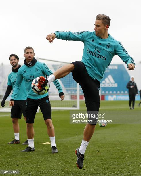 Marcos Llorente of Real Madrid in action during a training session at Valdebebas training ground on April 7 2018 in Madrid Spain