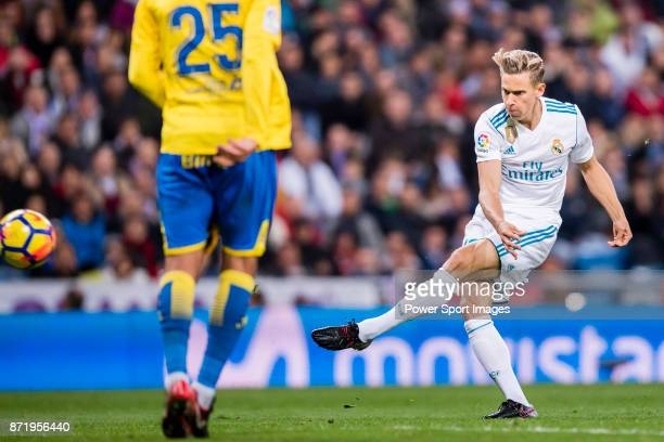 Marcos Llorente of Real Madrid in action during the La Liga 201718 match between Real Madrid and UD Las Palmas at Estadio Santiago Bernabeu on...